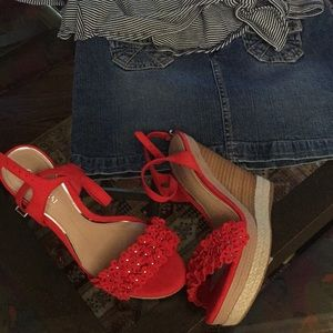 Giannni Bini Suede Floral Espadrille Wedges